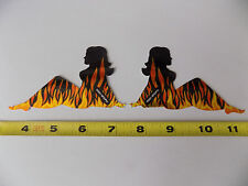 Mudflap Girls Stickers / Decals Black With Flames Mud Flap Set of 2 Rare