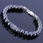 Men Women Gemstone Bracelet Hematite 925 Sterling Silver Celtic Bead Clasp
