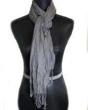 """Gray Fashion Scarf Long Crinkled Fringe Cotton 74"""" Year Round"""