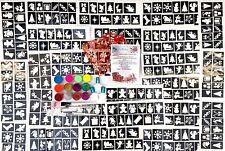 Kit de Tatuaje Purpurina Navidad 300 Stencils 12 Brillos 3 Pegamento UV HOL Iridiscente