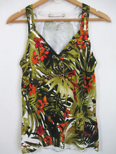 CACHE Womens Sleeveless Sweater V-Neck Size M Tropical Floral Green Eyelet