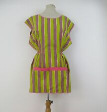 vintage 1960s striped lime & pink cotton ladies overall apron