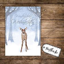 A6 Postkarte Print Karte Reh Rehkitz & Spruch Wunderschöne Weihnachten pk127