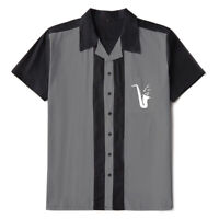 Mens Western Shirt Saxophone Embroidered Rockabilly Bowling Casual Shirts