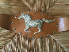 Beautiful Running Horse on leather belt by Australian designer, Eunice Carter.