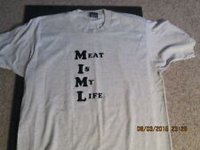 "Men's Gray T-shirt ""Meat Is My Life"" size XL pre-owned"