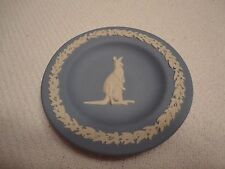 "Wedgwood Small 4.5"" Blue Plate With Kangaroo and Baby in Pouch Relief"