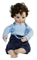 "Maud Tousey Fangel By Mao Porcelain Cloth Boy Doll 9.25"" Tall Blue Glass Eyes"