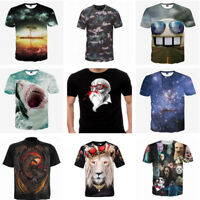 3D Cool Printing Casual Cotton T-Shirt Fashion Men's Tops Short Sleeves Clothes