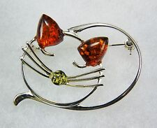 "Cheshire Cat Brooch with Natural Baltic Amber 925 Sterling Silver 1-1/4"" x 1"" H"
