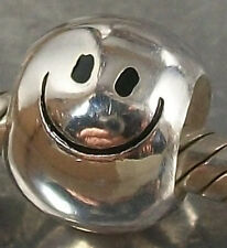 925 STERLING SILVER SMILEY FACE slide on CHARM BEAD