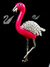 SIGNED SWAROVSKI CRYSTAL FLAMINGO BIRD  PIN /BROOCH RETIRED NEW RARE