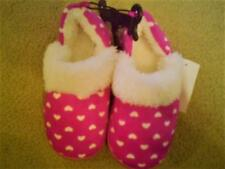 NWTTODDLER  GIRLS DEEP PINK WITH WHITE HEARTS SLIPPERS FAUX FUR TRIM LARGE 9/10