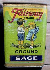 VINTAGE FAIRWAY BRAND 2 OUNCE GROUND SAGE SPICE TIN WITH CHILDREN