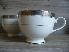 Two Mikasa Palatial Platinum L3235 Fine China Cup Detailed Design On Rim Tea Cup