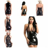 Women's Mesh Leather Bodycon Short Mini Dress Sexy Wet Look Lingerie Club Wear