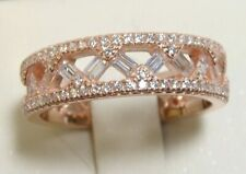 Band Ring Sz 10 Rose Gold 925 Sterling Silver Simulated Diamond Eternity Wedding