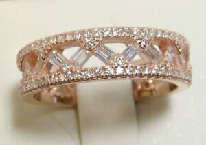 925 Sterling Silver Simulated Diamond Eternity Wedding Band Ring Sz 10 Rose Gold