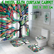 Colorful Tree Bathroom Set Shower Curtain Toilet Lid Cover Bath Mat Non-Slip Rug
