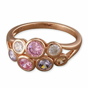 Sterling Silver Rose Gold Plated Cubic Zirconia Cluster Ring - Small Sizes J,K,L