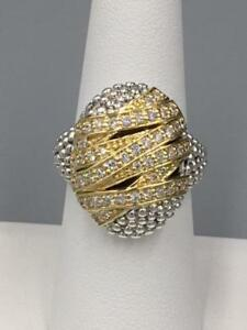 NWT Lagos Embrace $3,150 Sterling Silver 18K Gold .61 ct DIAMOND Ring