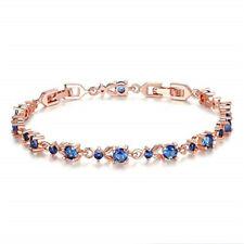 Fashion Woman Exquisite Blue Round Zircon Rose Gold Bracelet Jewelry Gift