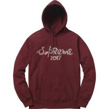 Supreme Brosse Logo Sweat à capuche rouge bordeaux à capuche Sweat à Capuche-Large-DS NEUF
