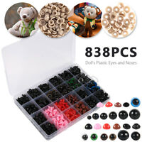 838Pcs Colorful Plastic Safety Eyes& Noses for Teddy Bear Doll Animal Toy Crafts