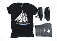 Premium Boat Illustration T Shirt Gift Ship Captain Boating Lover T Shirt Gifts