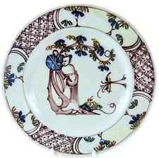 C1750 BRISTOL MANGANESE DELFT POLYCHROME PLATE CHINESE LADY HOLDING FAN c