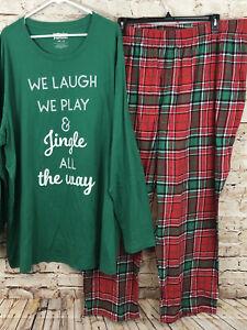 Jammies for Families Mens 3XB Christmas Pajamas Set Jingle plaid New 3X BIG W3
