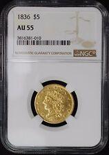 1836 $5 CLASSIC HEAD GOLD HALF EAGLE, NGC AU55, SCARCE VARIETY 6E,R4, BREEN 6509