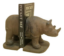 Rhino Bookends Heavy Cast Iron Africa Decor Vintage Look Library Books gift