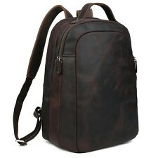 "Men's Real Leather Backpack 14"" Laptop Sport Hiking Travel  Large Book Bag"