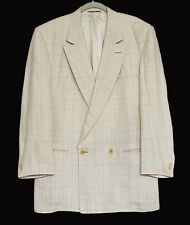 GIANNI VERSACE Vintage 90s Jacket Blazer Double Breasted 100% Linen Size 46