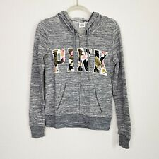 Victorias Secret VS Pink Womens Sz XS Gray Zip Up Hoodie Tropical Spellout
