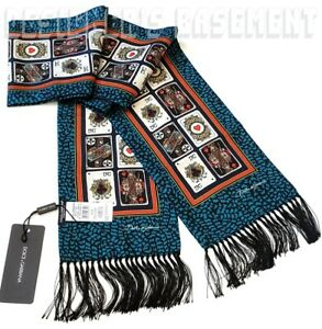 DOLCE & GABBANA teal & black 2-ply silk PLAYING CARDS fringe scarf NWT Auth $350