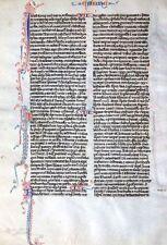 Biblia escritura a mano hoja pergamino parís francia perlbibel fleuronnée 1270