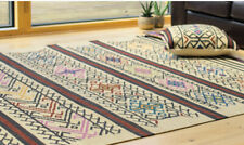Yerevan Kilim Rug Cream Geometric Stripe Multicolour Wool Flat Weave 3 Sizes