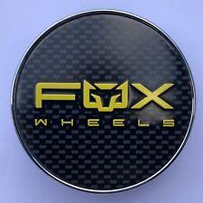 4 X FOX RACING FX005 ALLOY WHEEL CENTRE CAPS PLUS BADGES (CARBON YELLOW) (63MM)