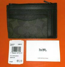 NWT Coach F66649 Multiway Zip Card Case ID Wallet Signature Canvas Green / Brown