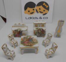 Ensemble Salon / Salle à manger Table horloge miniature en porcelaine de Limoges