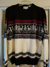 Mens Christmas Sweater Holiday Deer Reindeer Party Size Medium Acrylic