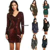 Women's V-Neck Long Sleeve Sequined Bodycon Cocktail Club Party Mini Sexy Dress