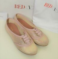 Red Valentino Shoes Handmade Sneakers Pink Polka Dot Cute Loafers Lace Pattern