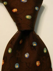 LEONARD STUDIO Men's 100% Silk Necktie ITALY Luxury YO-YOS Brown/Multi GUC Rare