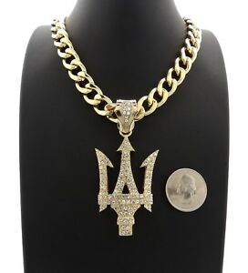 "ICED TRIDENT PENDANT WITH 20"" 11mm CUBAN CHAIN"