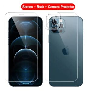 3-in-1 Full Cover Screen Protector Back Tempered Glass Camera Lens Film iphone