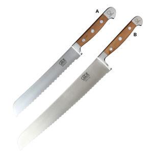 GÜDE Brotmesser Alpha Birne, 2 Klingellängen, Wellenschliff Messer Holzgriff