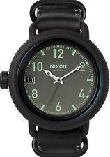 Nixon Octubre Reloj de Pulsera de Cuero (Todo Negro)